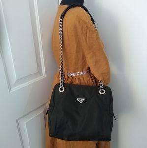 Authentic Prada Nylon Tessuto chain tote bag